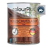 colourPlus® Holzschutzlasur (750ml, Teak) seidenglänzende Holzlasur Außen- Holz Grundierung - Holz Lasur - Holzlasur Aussen - Made in Germany
