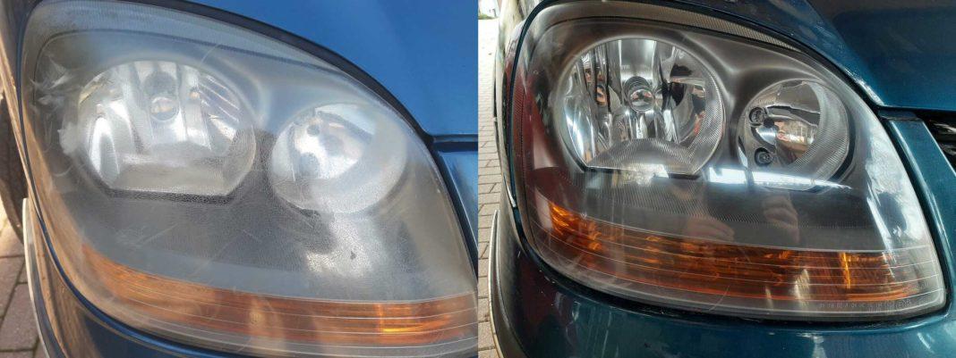 Autoscheinwerfer polieren - vorher und nachher