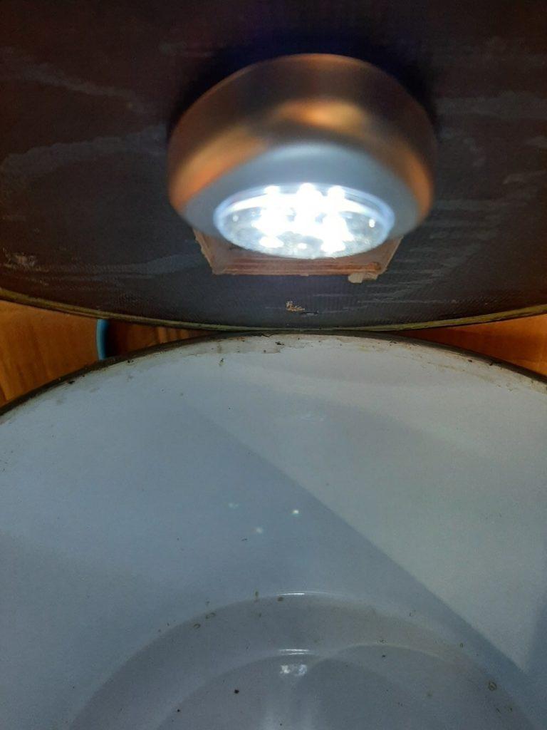 Campingleuchte im Decker der Vakuumkammer