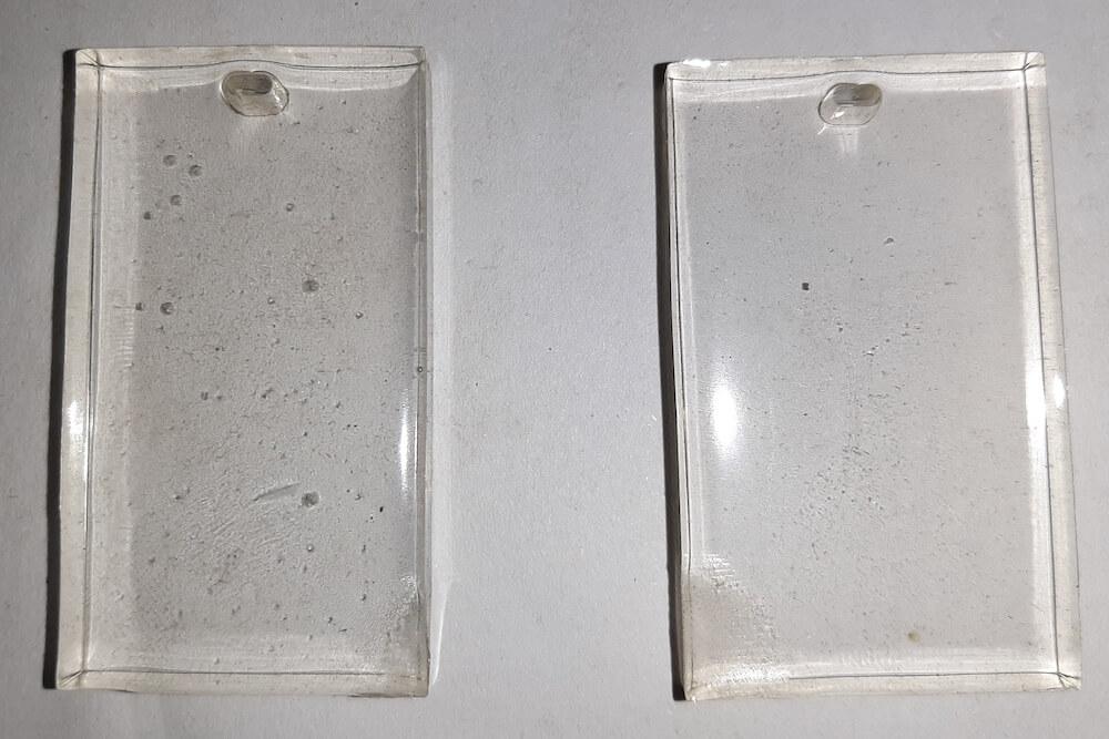 Vergleich Epoxy mit Lufteinschlüssel und das entgaste Gegenstück
